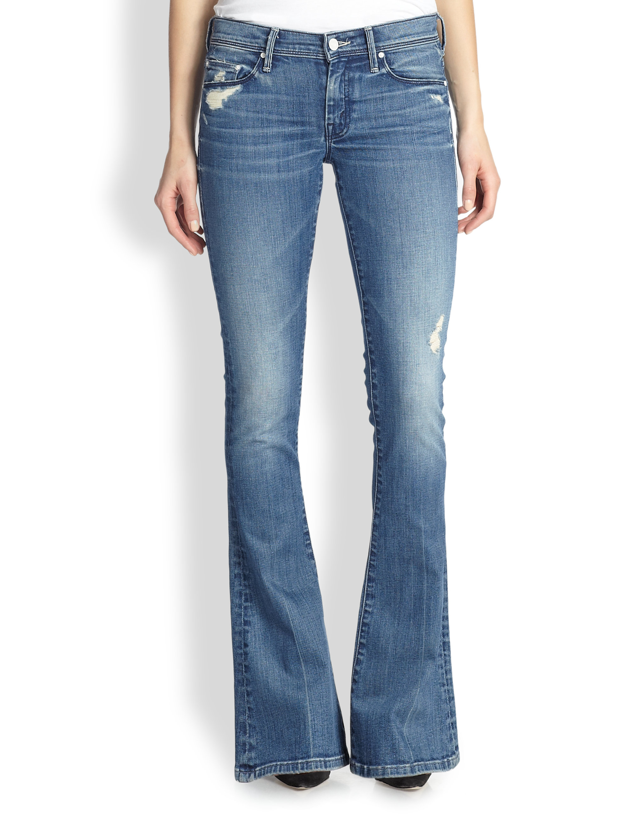 Lyst Mother The Cruiser Distressed Flare Jeans In Blue