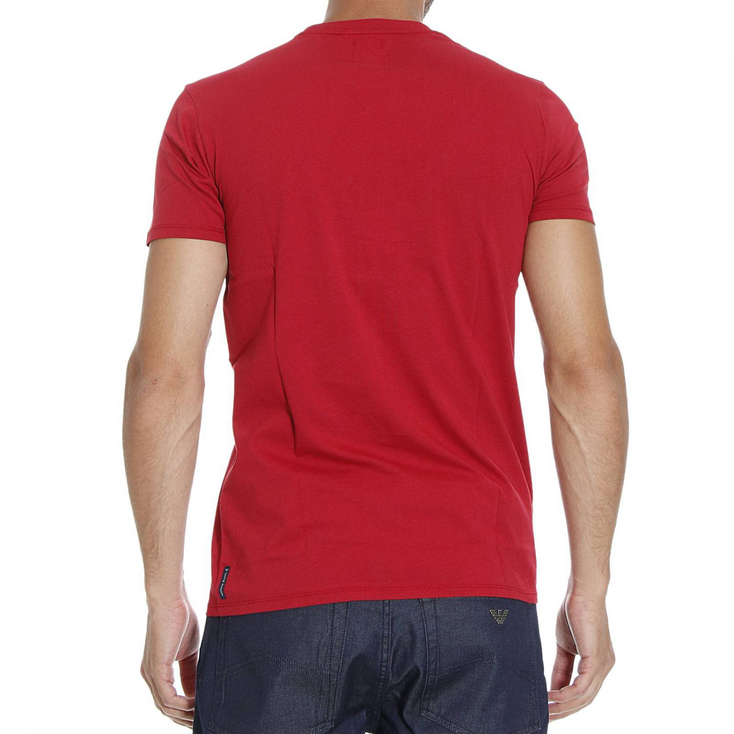 Giorgio armani t shirt short sleeve print logo in red for for Print logo on shirt