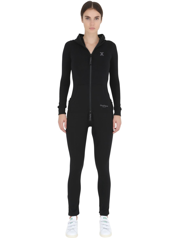 onepiece slim fit stretch cotton jumpsuit in black lyst. Black Bedroom Furniture Sets. Home Design Ideas