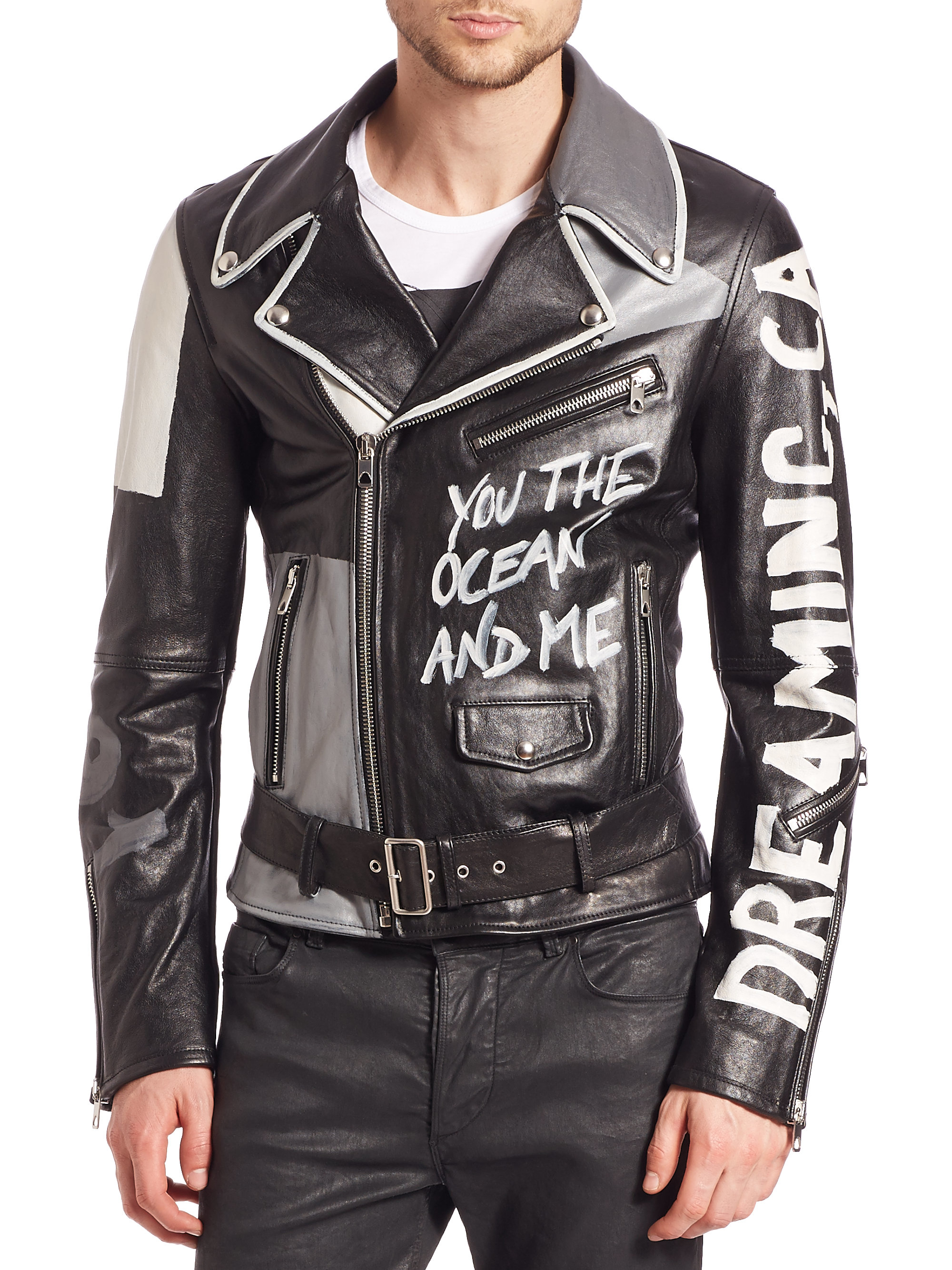 Lyst Diesel Black Gold Graffiti Print Leather Jacket In