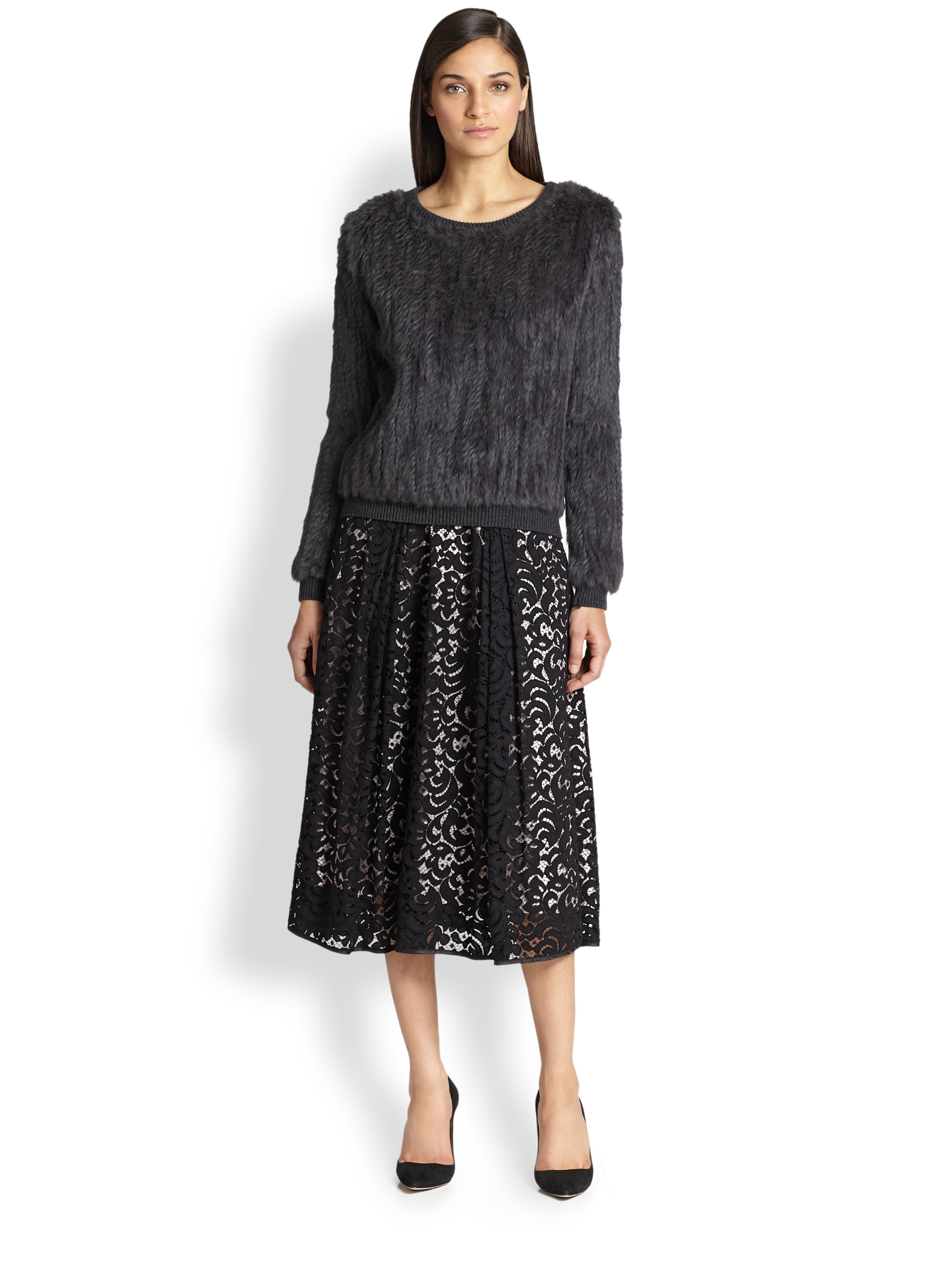 Milly Lace Midi Skirt in Black | Lyst