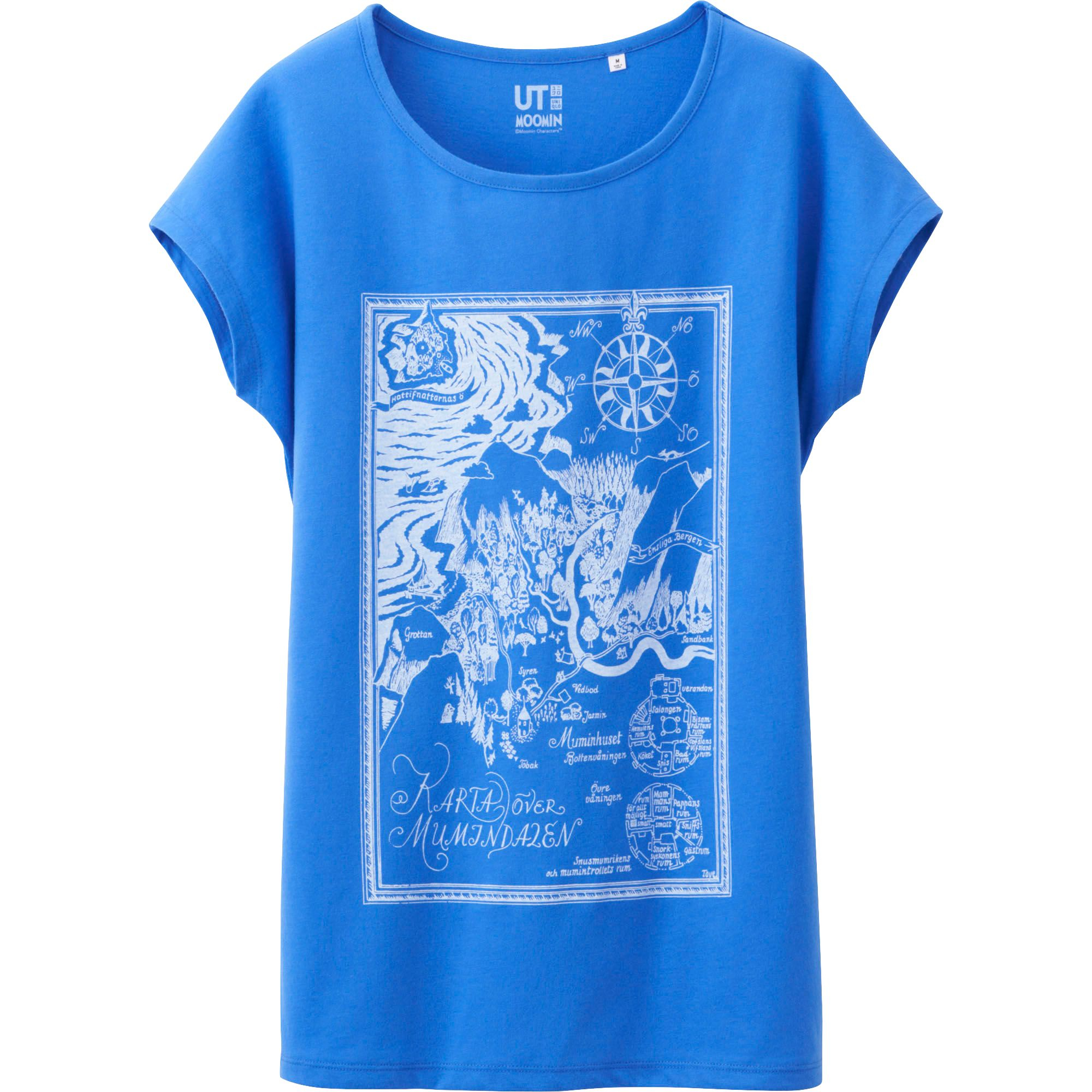 Uniqlo women moomin french sleeve tshirt in blue lyst for French blue t shirt
