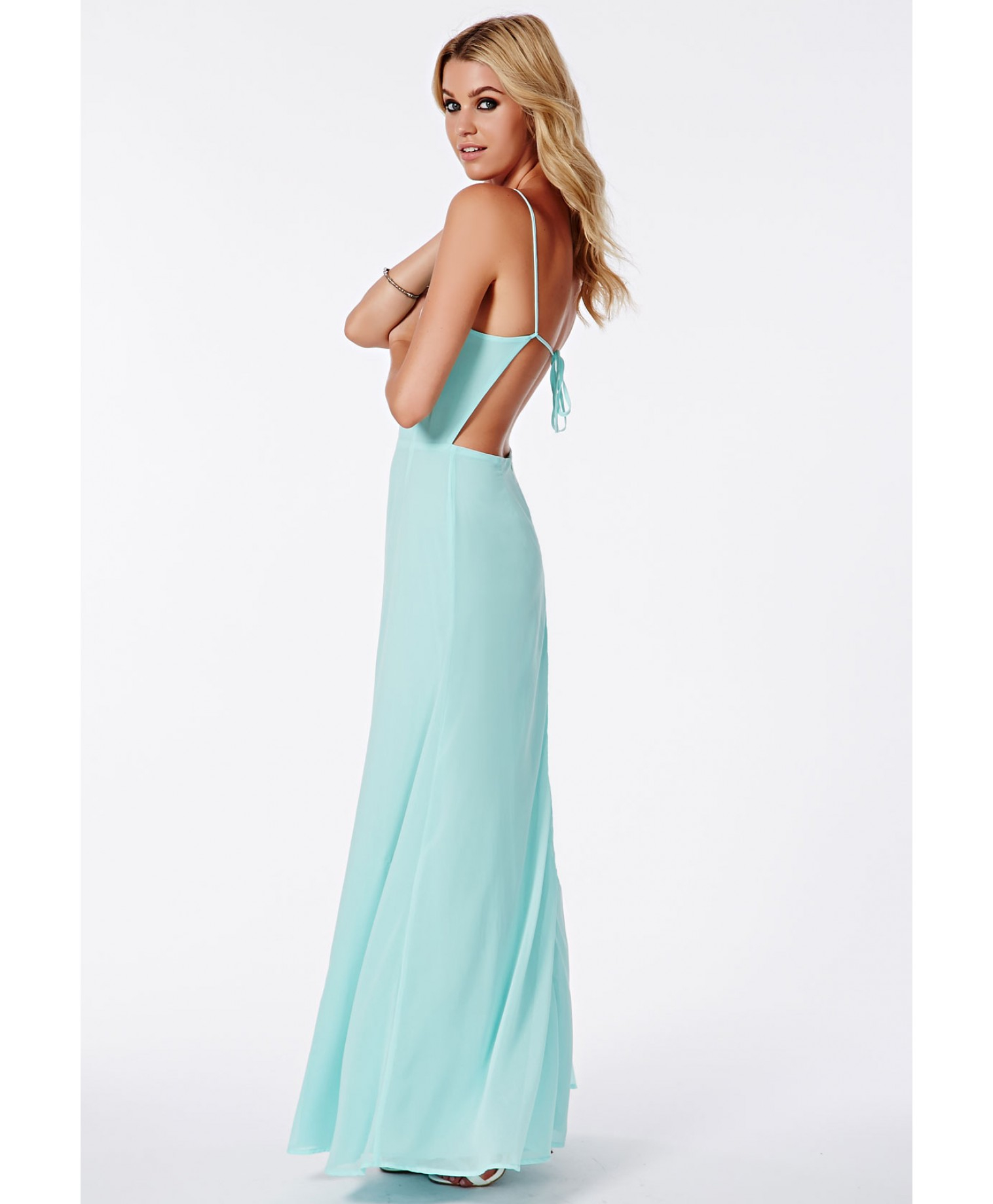 Missguided Pascaline Mint Strappy Back Maxi Dress In Green