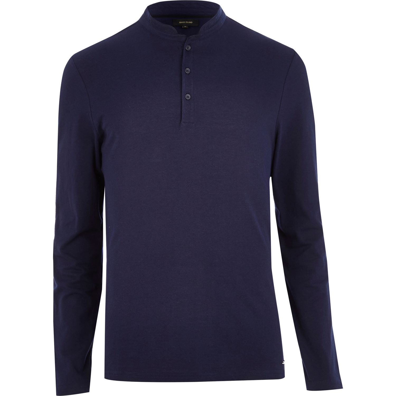 River Island Navy Grandad Collar Long Sleeve Polo Shirt In