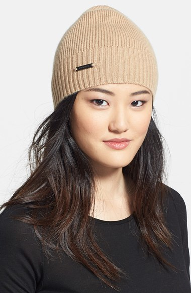1f2547eb74e Lyst - Burberry Cashmere Beanie in Natural