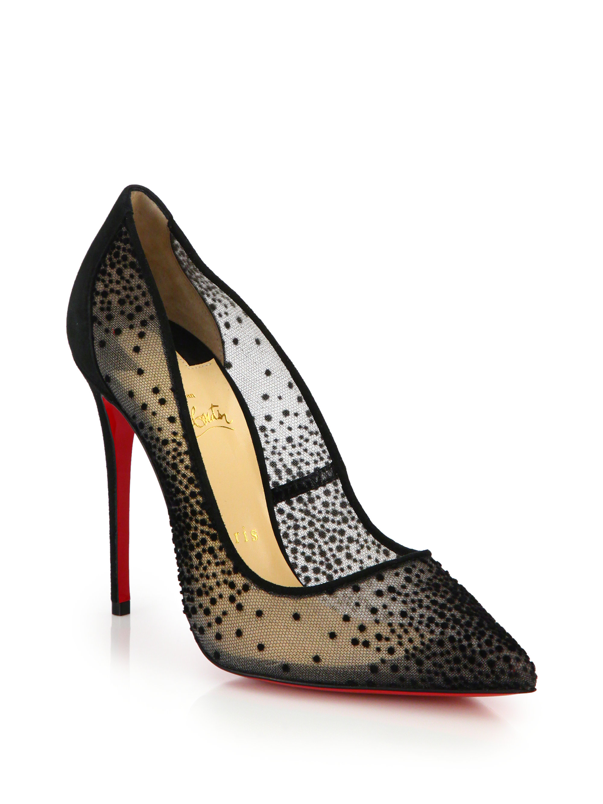 Christian louboutin Silkova Patent Leather \u0026amp; Mesh Sandals in Black ...