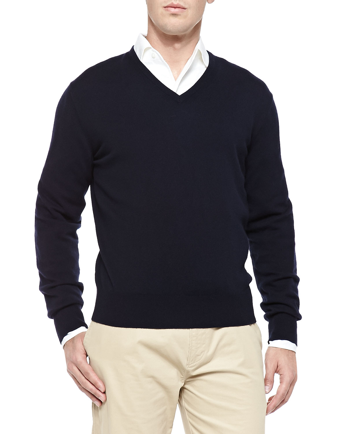 Lyst Loro Piana Baby Cashmere V Neck Sweater In Blue For Men