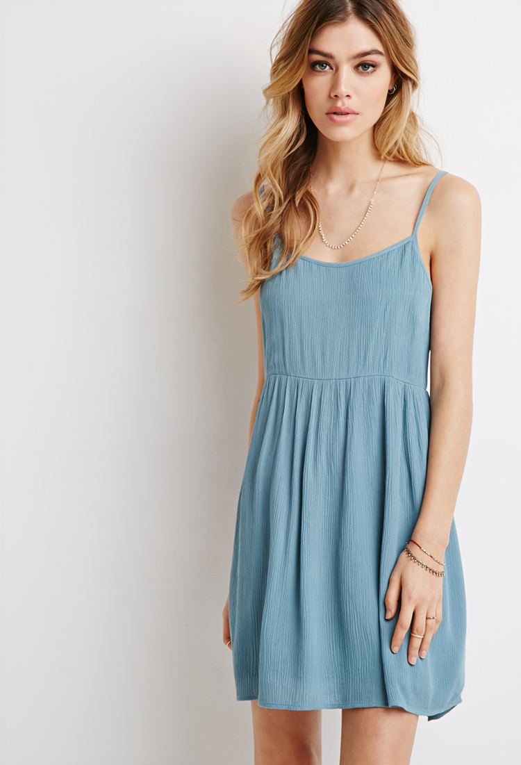 Lyst - Forever 21 Cami Babydoll Dress in Blue