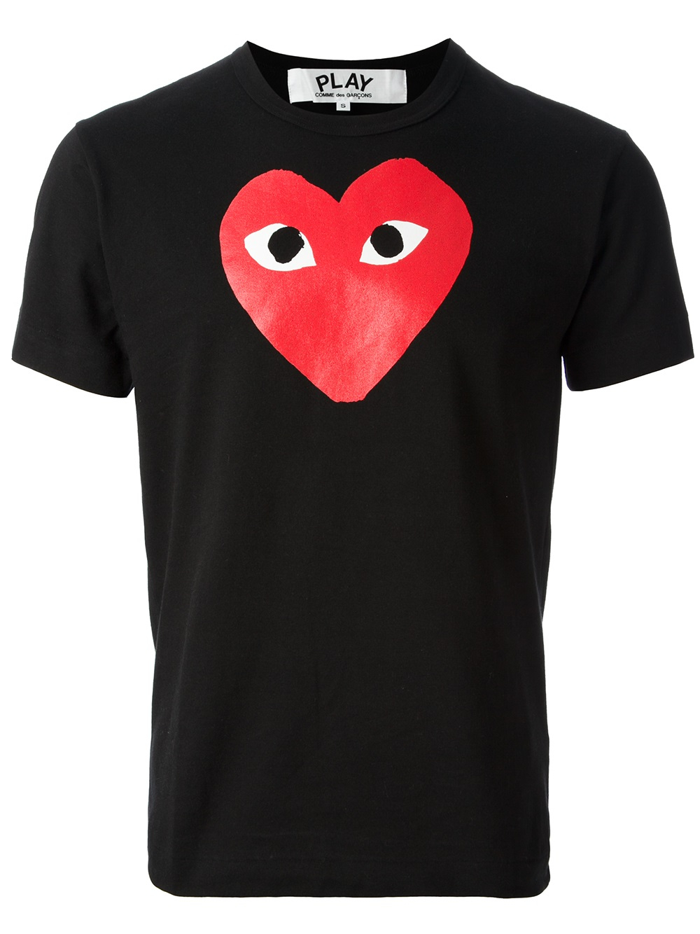 play comme des gar ons printed heart t shirt in black for. Black Bedroom Furniture Sets. Home Design Ideas