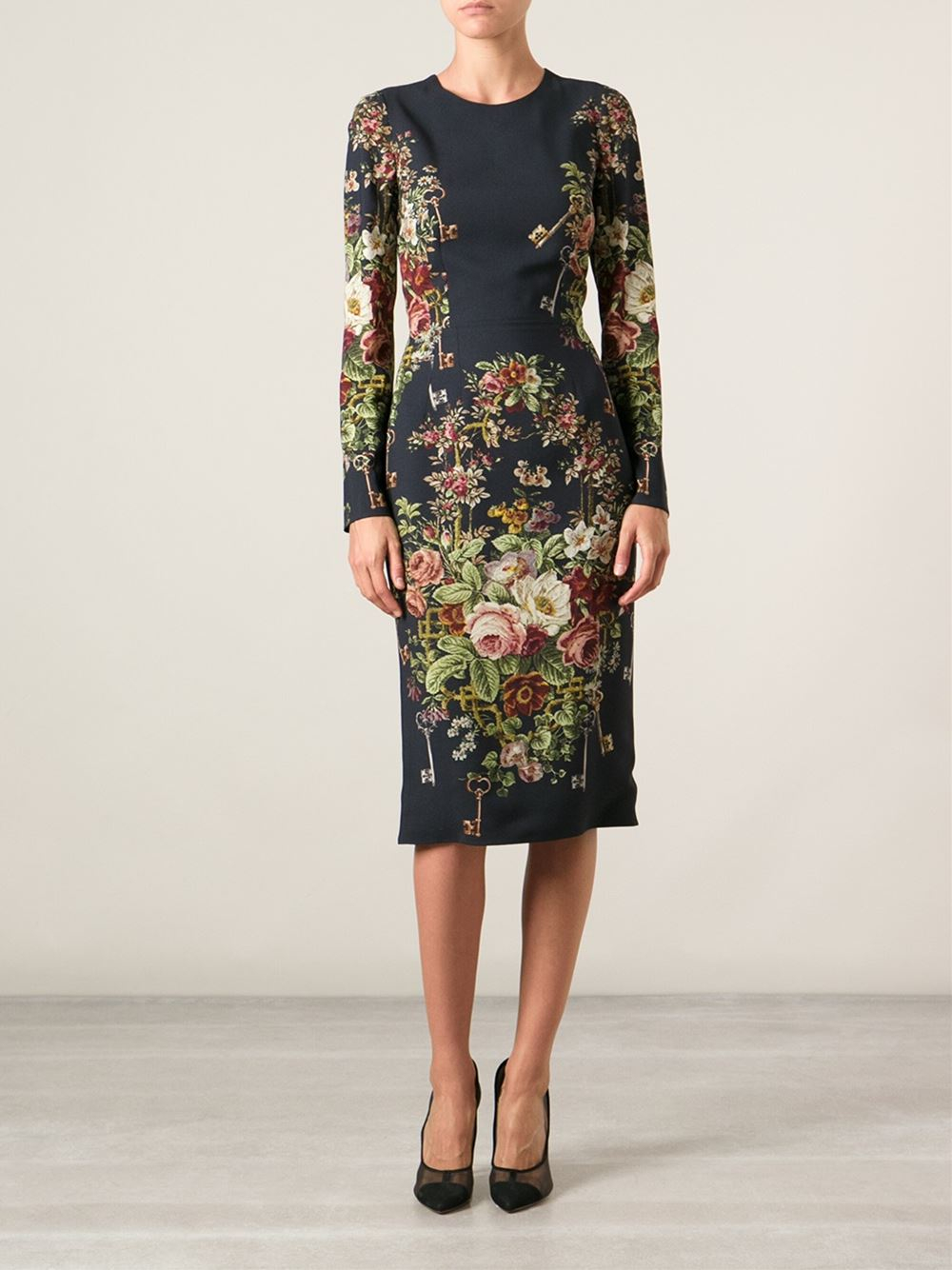 Lyst Dolce Amp Gabbana Keys Floral Print Dress In Black