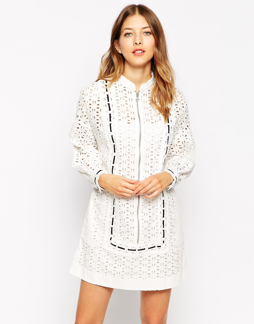 Lyst See By Chlo 233 Long Sleeve Eyelet Dress With Black