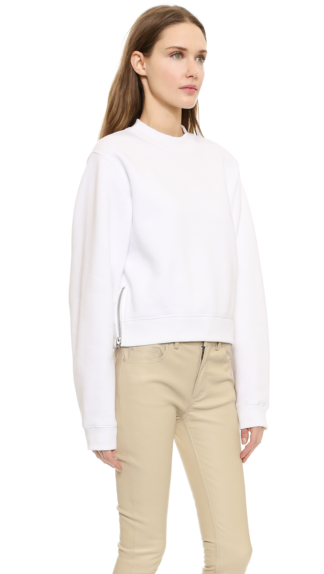 acne studios bird fleece pullover dusty pink in white lyst. Black Bedroom Furniture Sets. Home Design Ideas