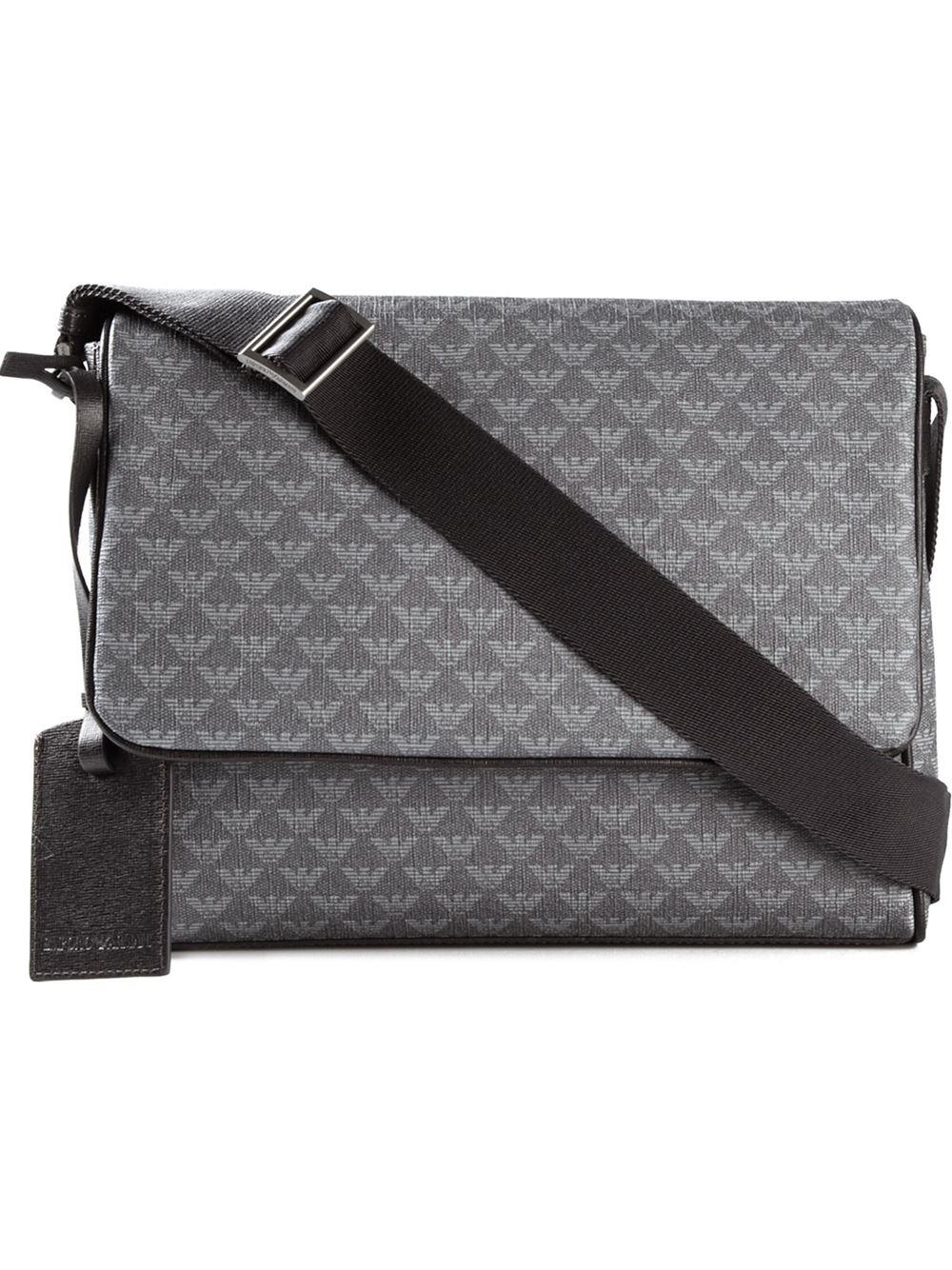 Emporio Armani Logo Print Messenger Bag in Gray for Men - Lyst cde4f353c8d0f