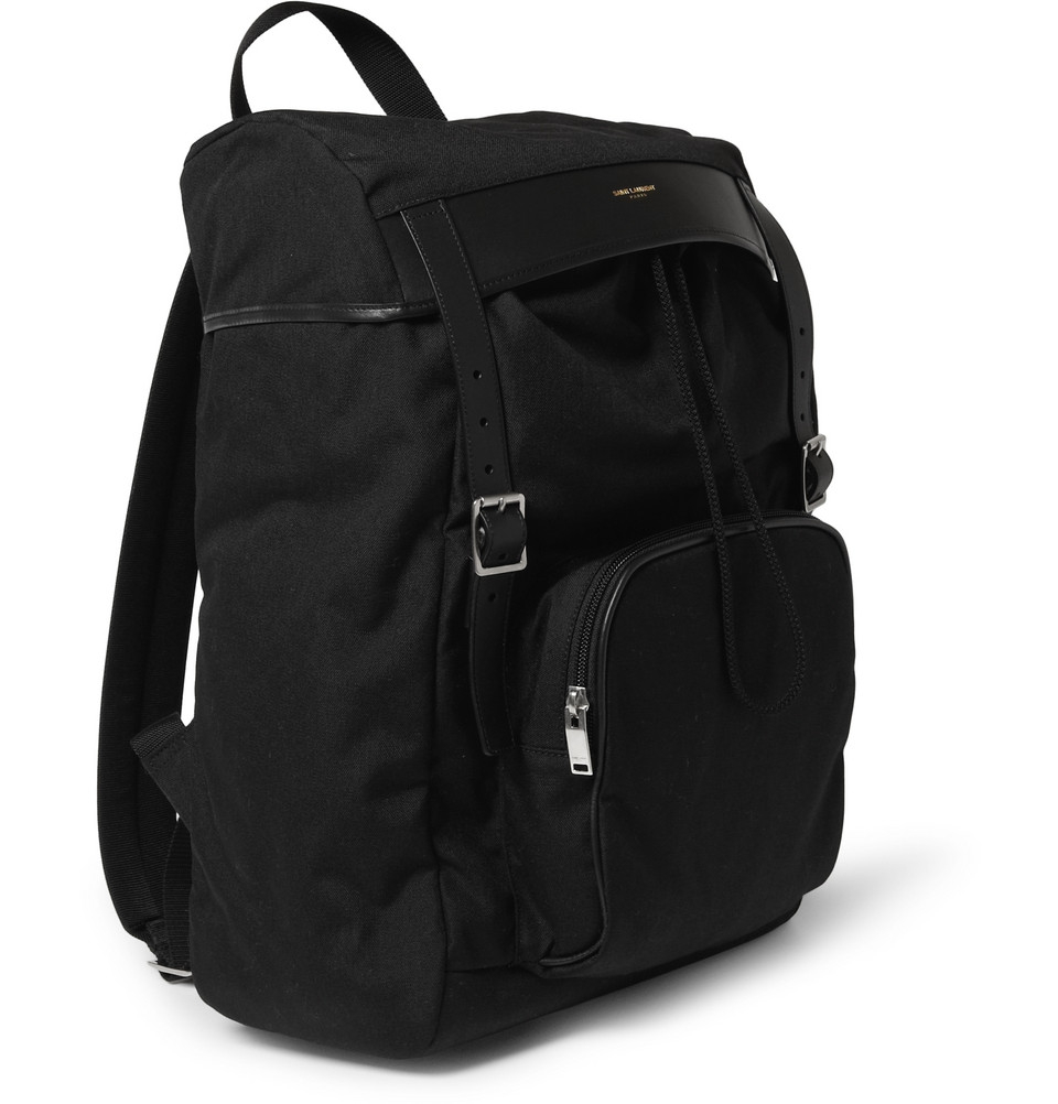 4a796407f4 Lyst - Saint Laurent Leather-Trimmed Canvas Backpack in Black for Men