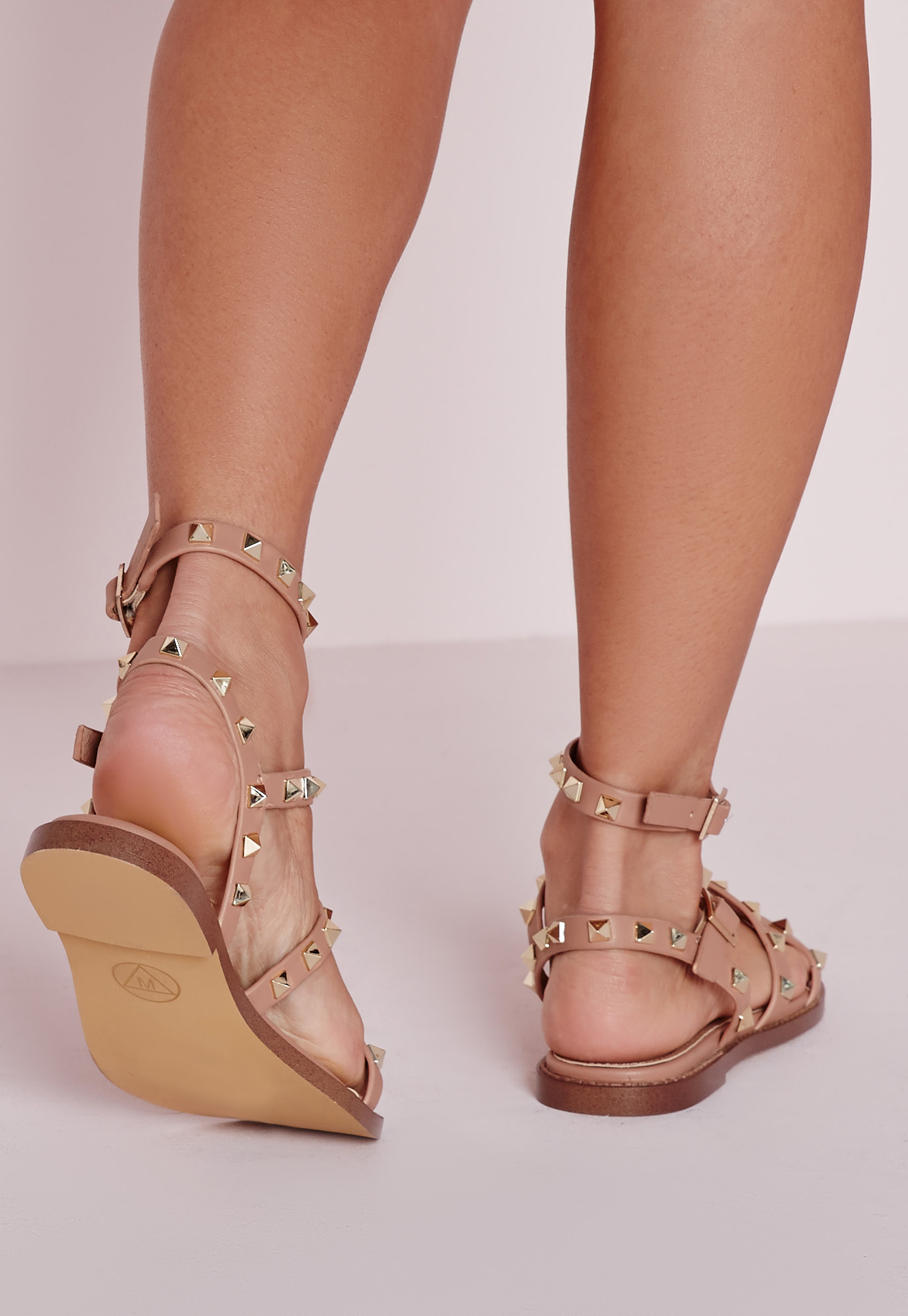 Missguided Studded Flat Gladiator Sandals Blush In Pink Lyst