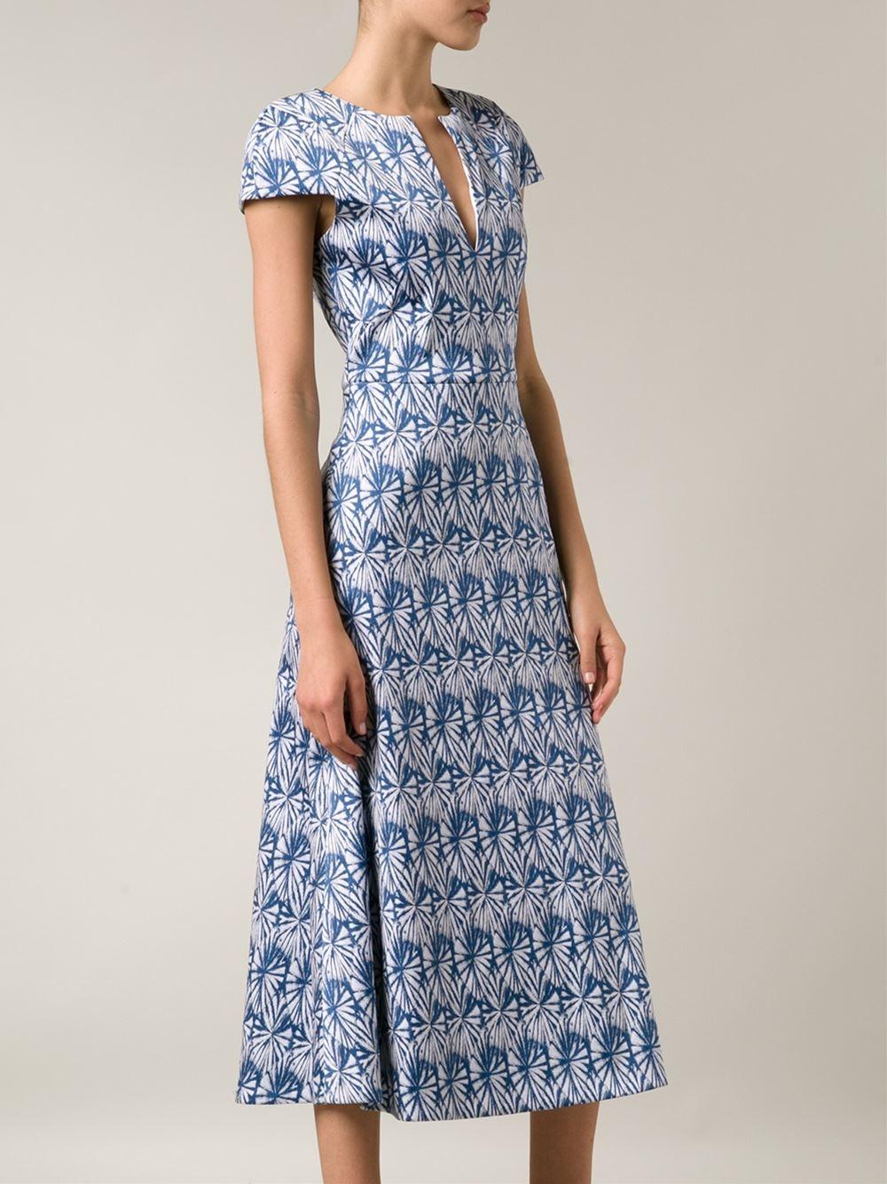 Lyst Wes Gordon Leaf Print Skater Dress In Blue
