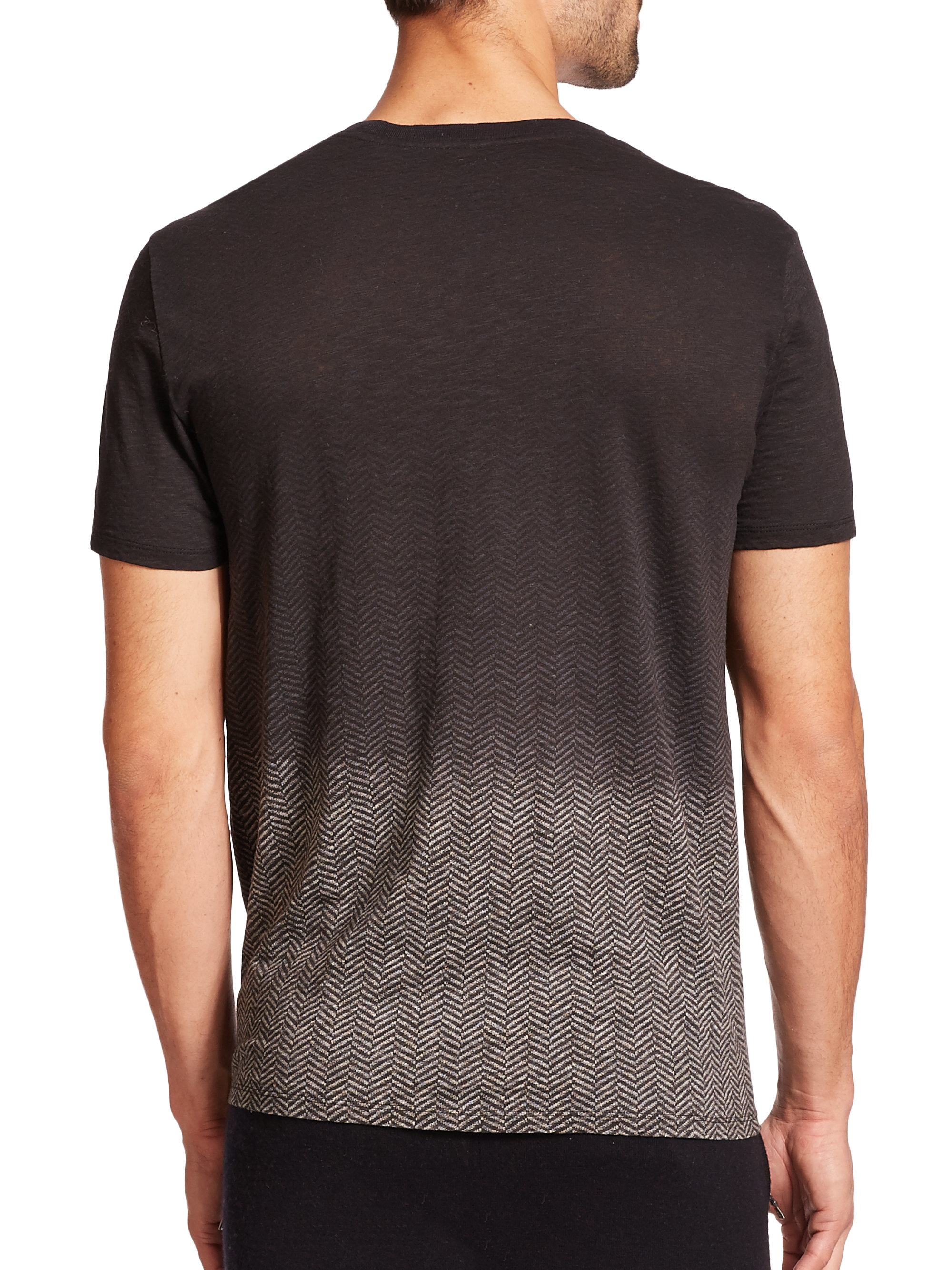 Lyst vince ombr cotton t shirt in black for men for Vince tee shirts sale
