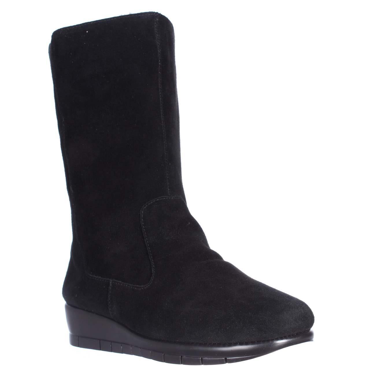 aerosoles plantation suede wedge boots in black lyst