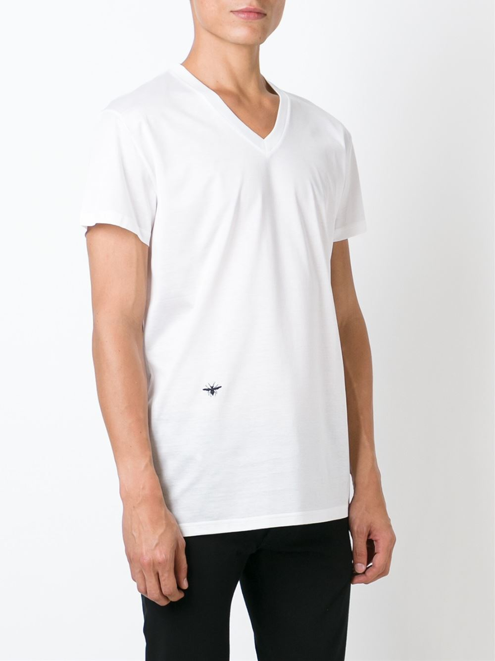 dior homme insect motif v neck t shirt in white for men lyst. Black Bedroom Furniture Sets. Home Design Ideas