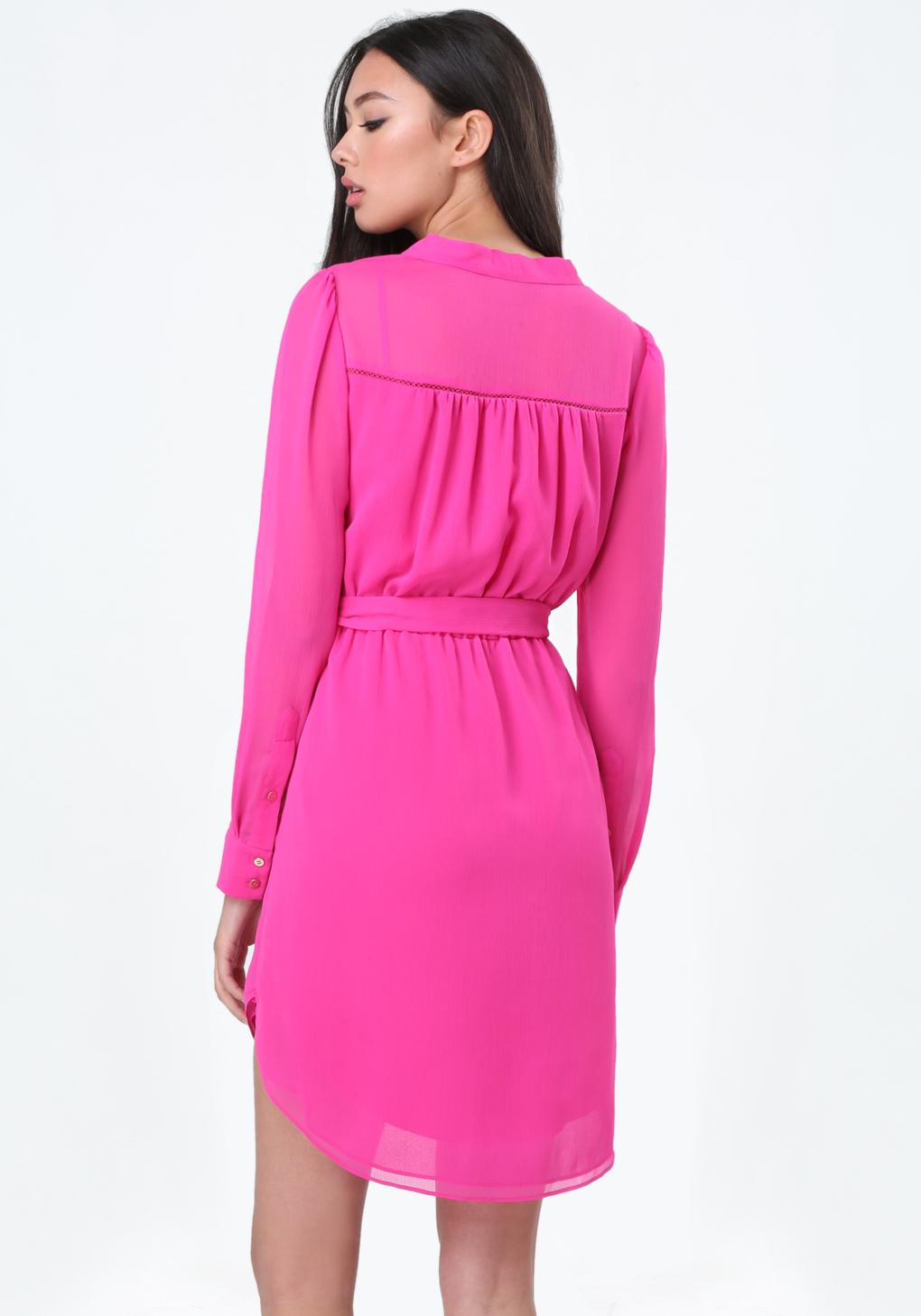 Bebe Chiffon Shirtdress in Pink | Lyst