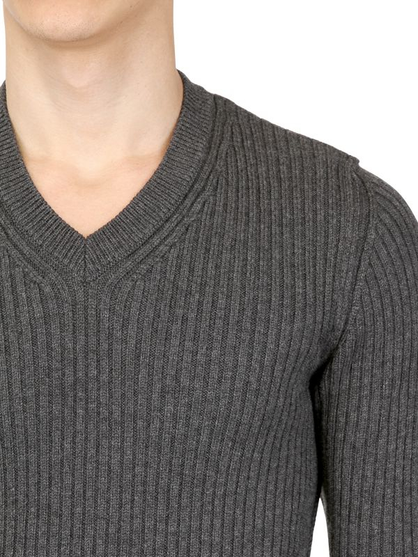 Dolce & gabbana Ribbed Merino Wool V Neck Sweater in Gray for Men ...