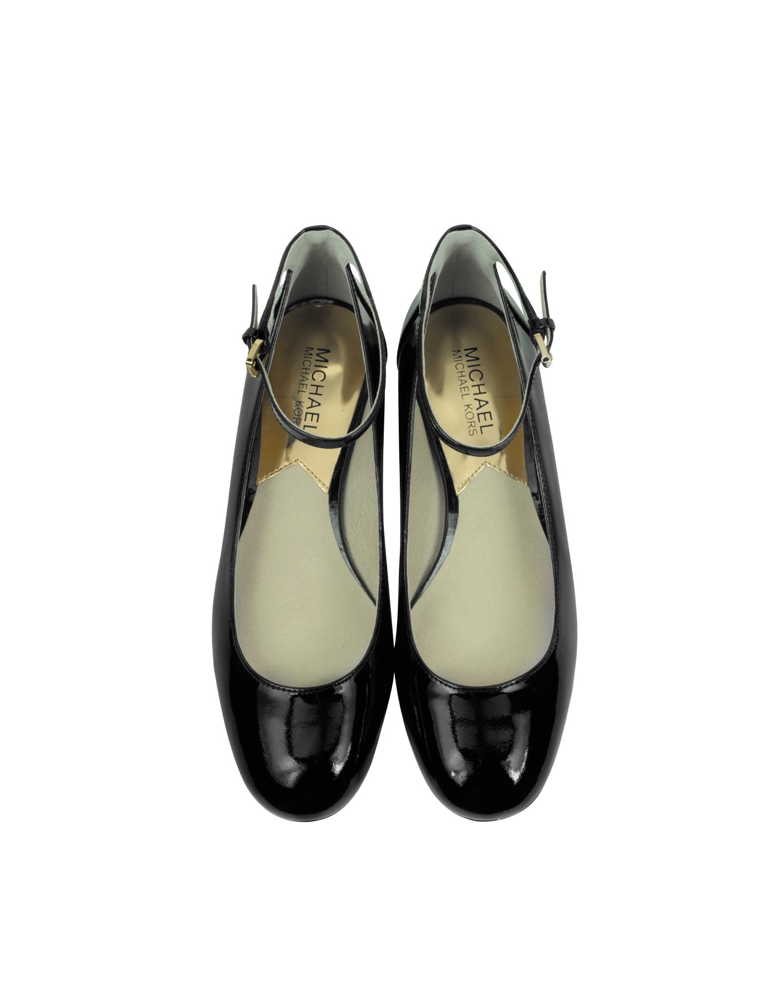 michael kors esther black patent leather ankle shoe