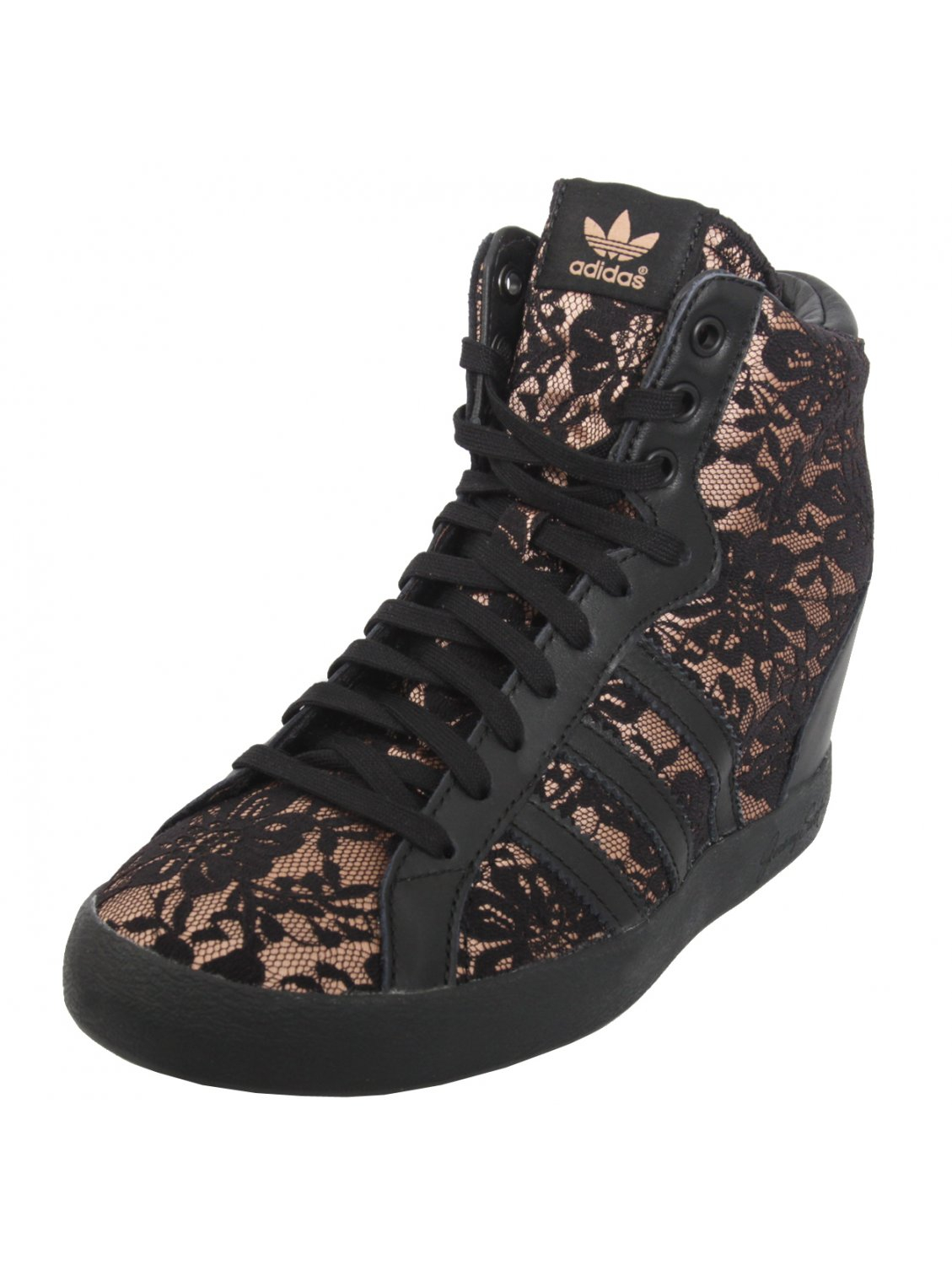 for adidas lace wedge sneakers black in black