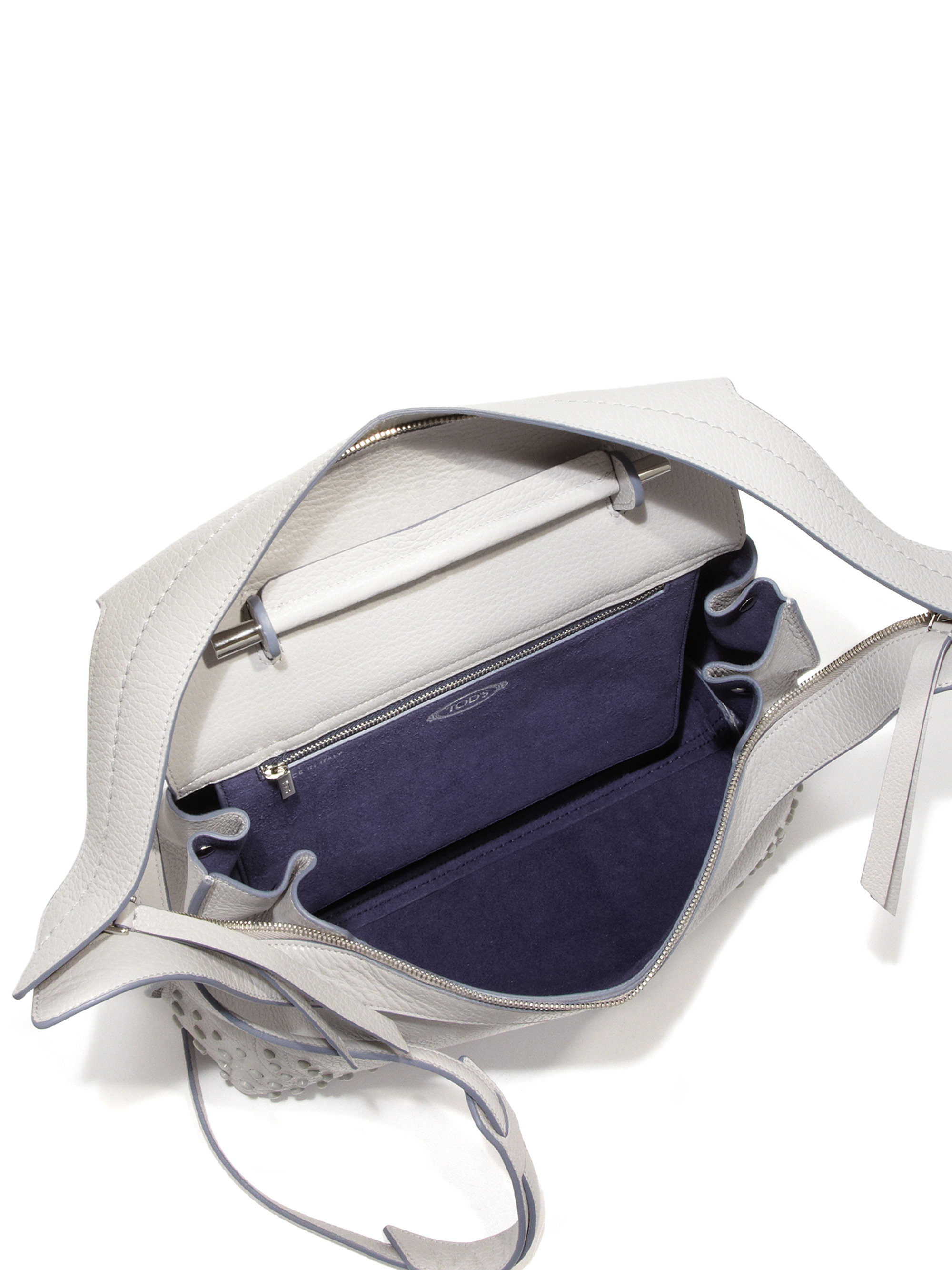 Tod\u0026#39;s Wave Medium Gommini Leather Satchel in Gray (light grey)   Lyst