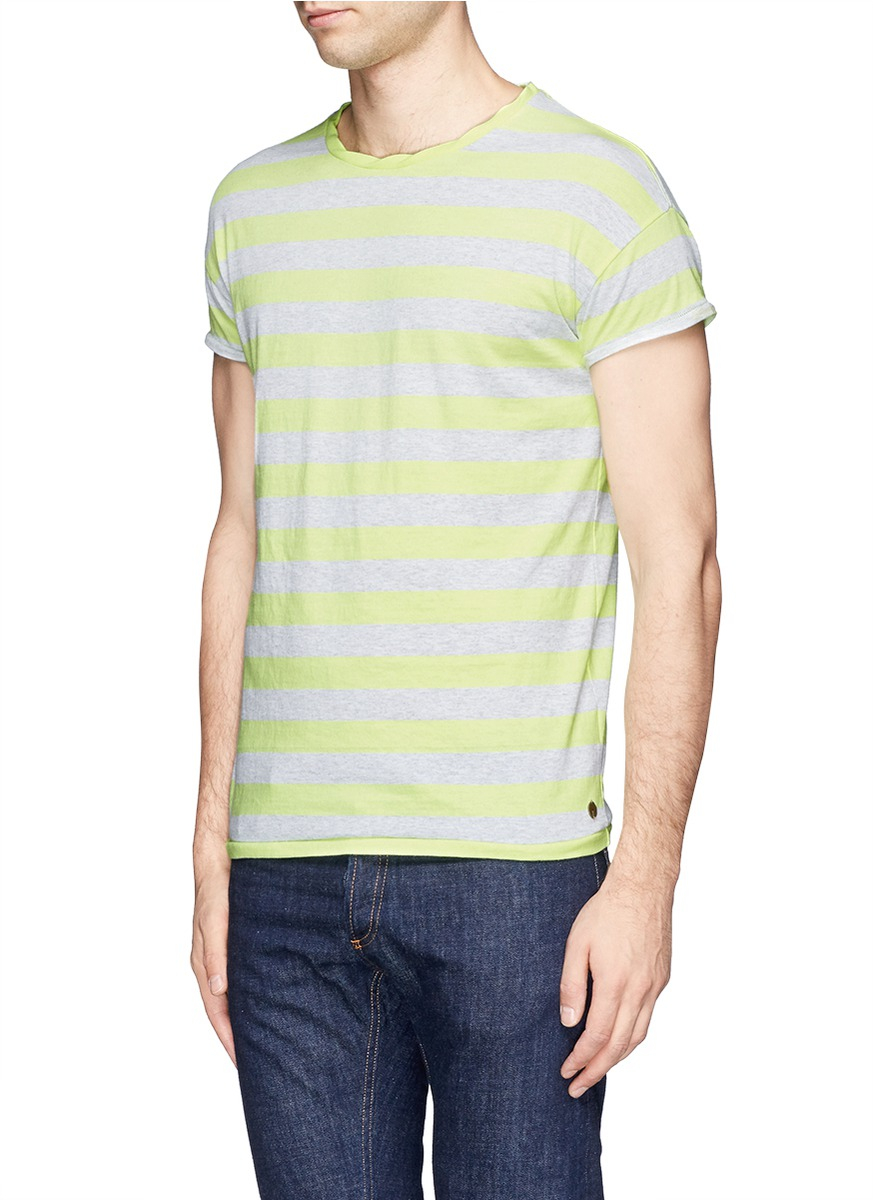 Scotch soda fade stripe t shirt in yellow for men lyst for Faded color t shirts