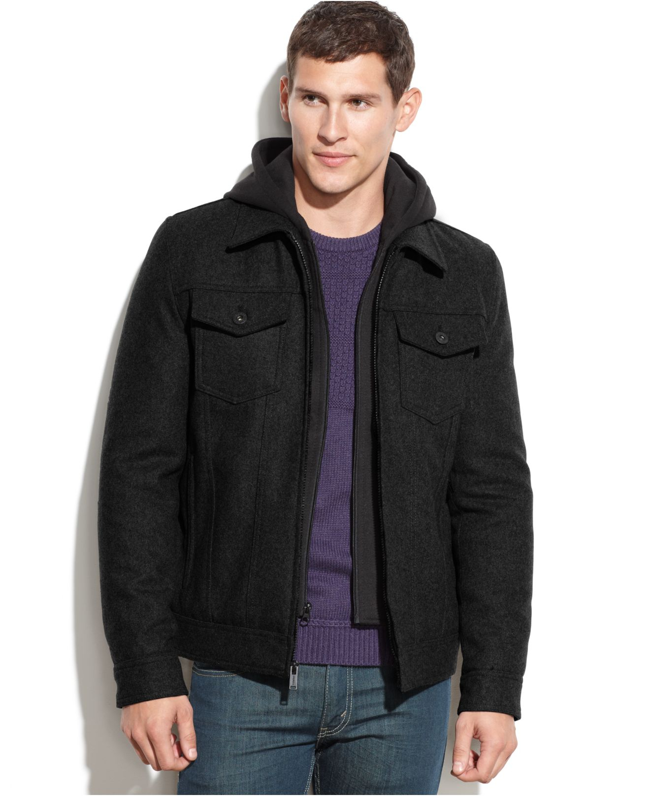 Guess Wool-blend Hooded Bomber Jacket in Black for Men | Lyst