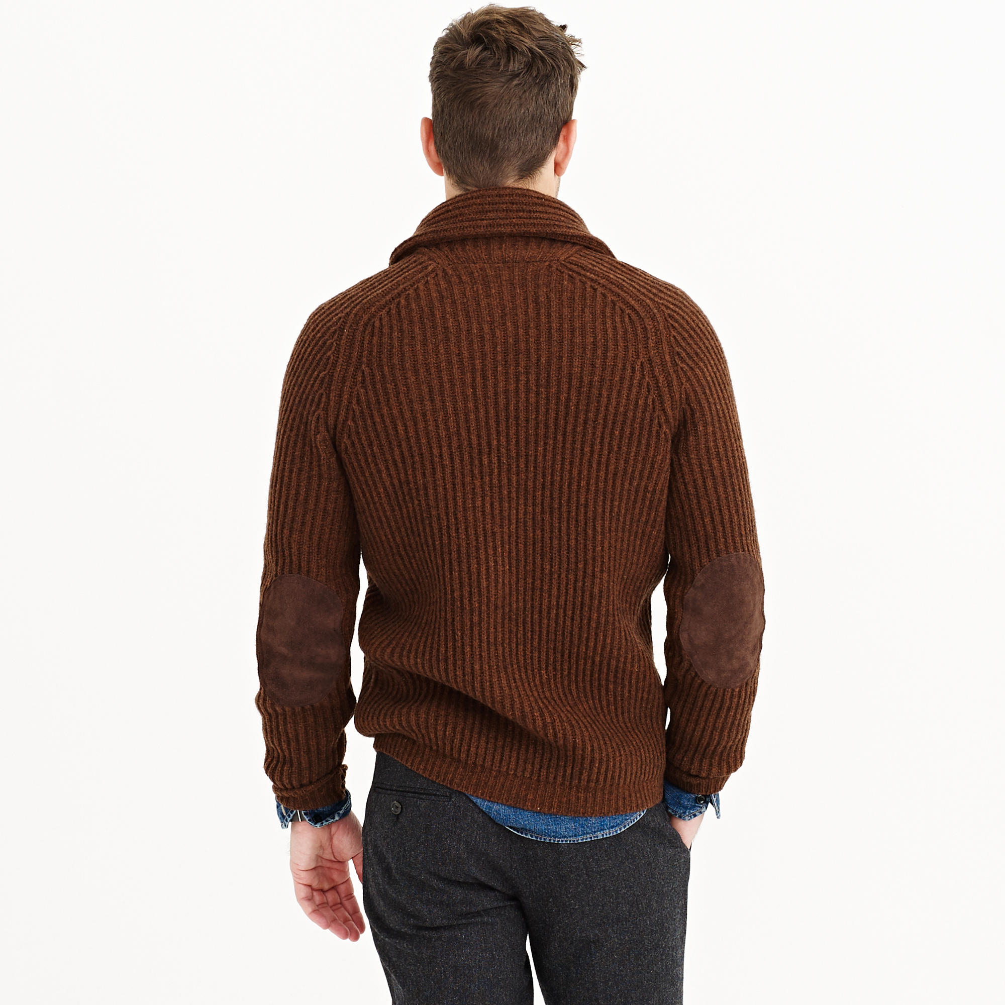 59407c221f3 Lyst - J.Crew Lambswool Ribbed Cardigan Sweater in Brown for Men
