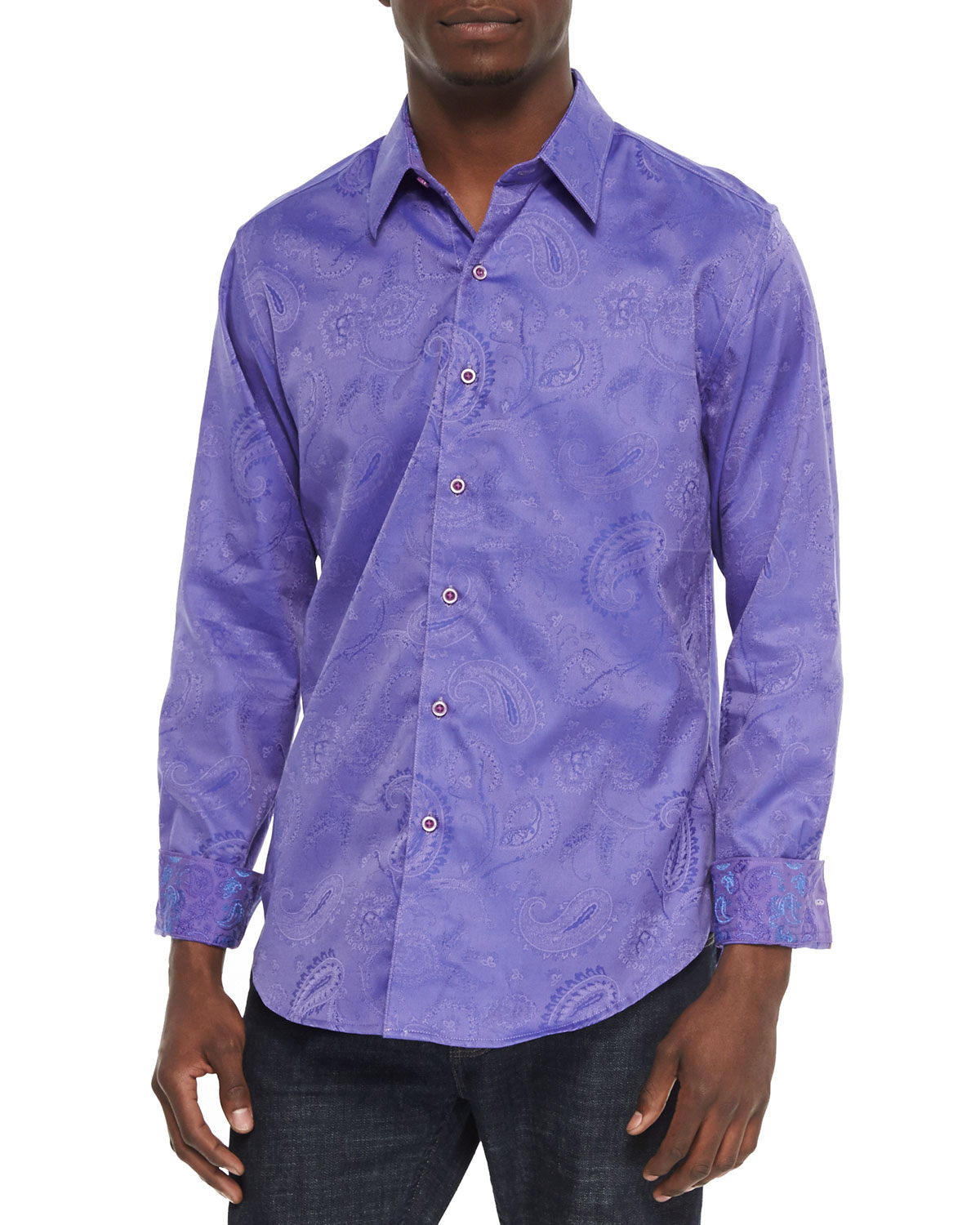 Robert Graham Pyramid Paisley Tailored Fit Sport Shirt In
