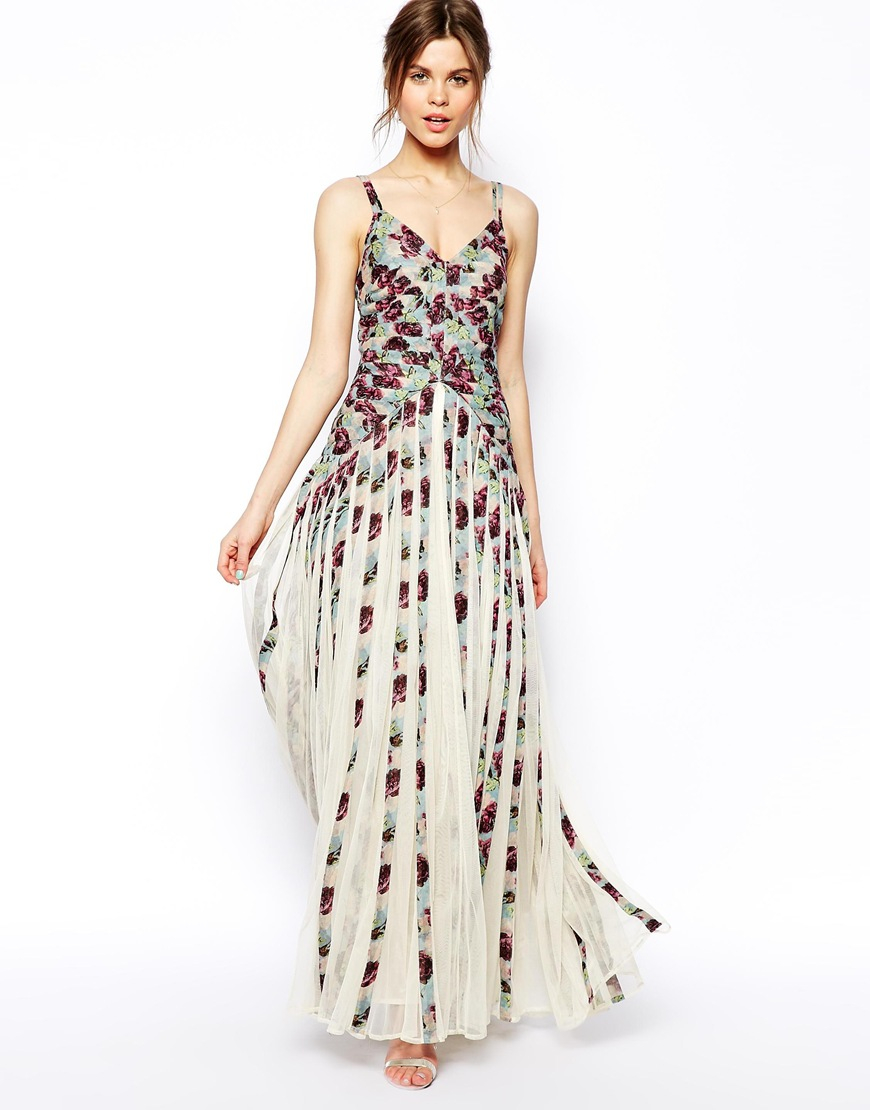 Lyst - Asos Salon Maxi Floral Stripe Dress