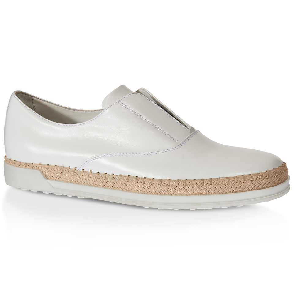 tod s leather slip on shoes in white lyst