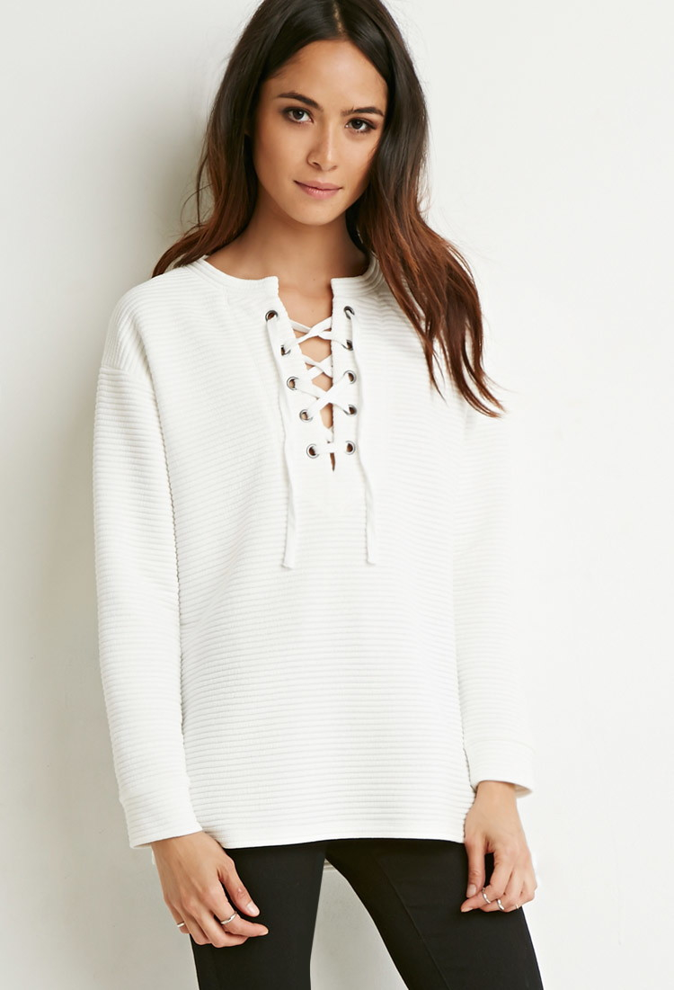 Forever 21 Quilted Lace Up Top In White Lyst