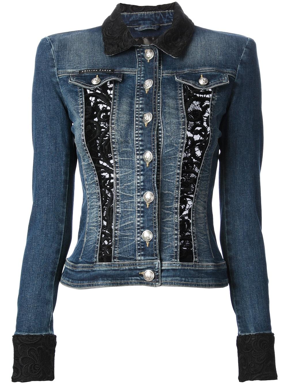 Lyst - Philipp Plein Lace Insert Denim Jacket In Blue-3486