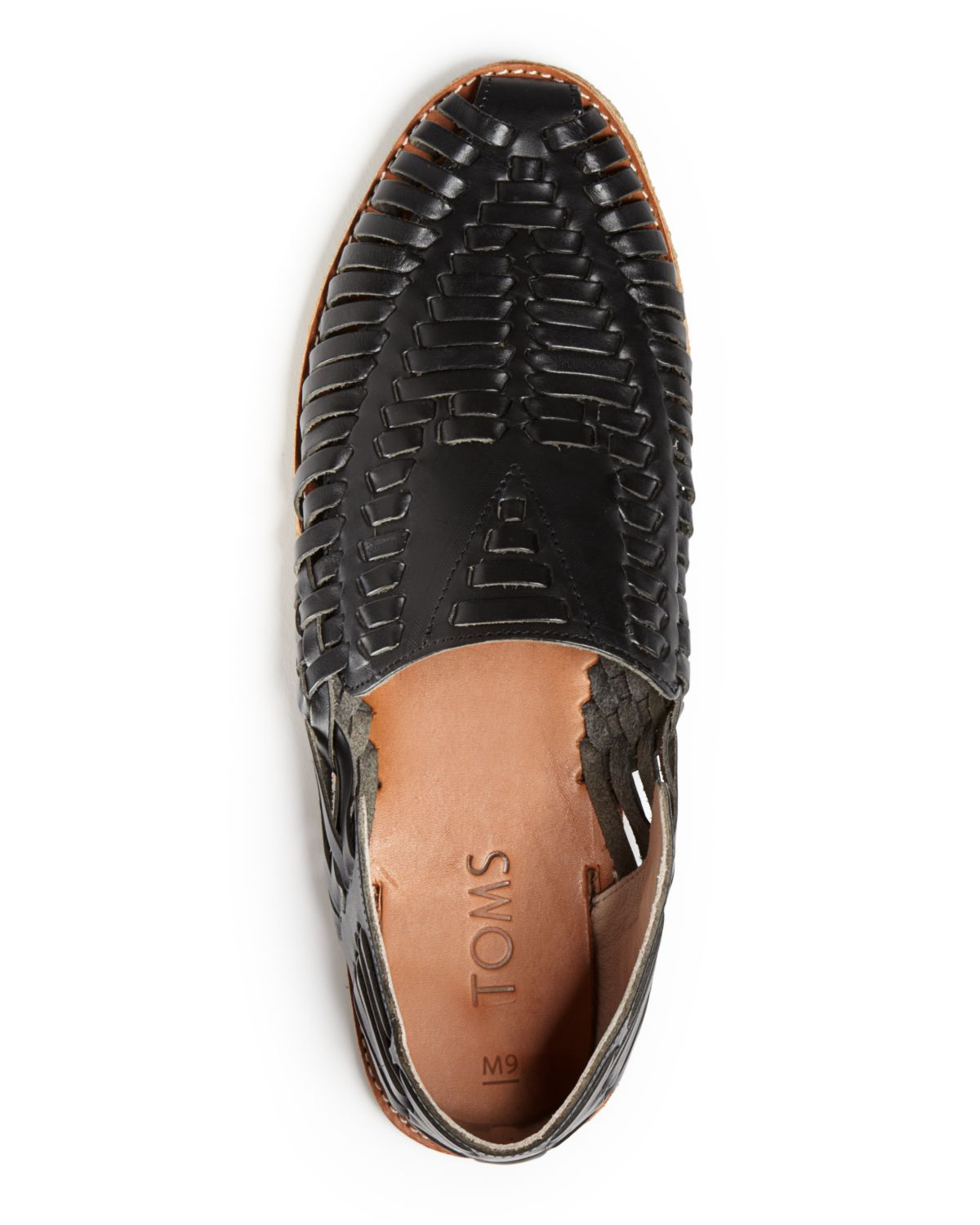 918e59dc990e3 TOMS Huarache Woven Leather Loafers in Black for Men - Lyst