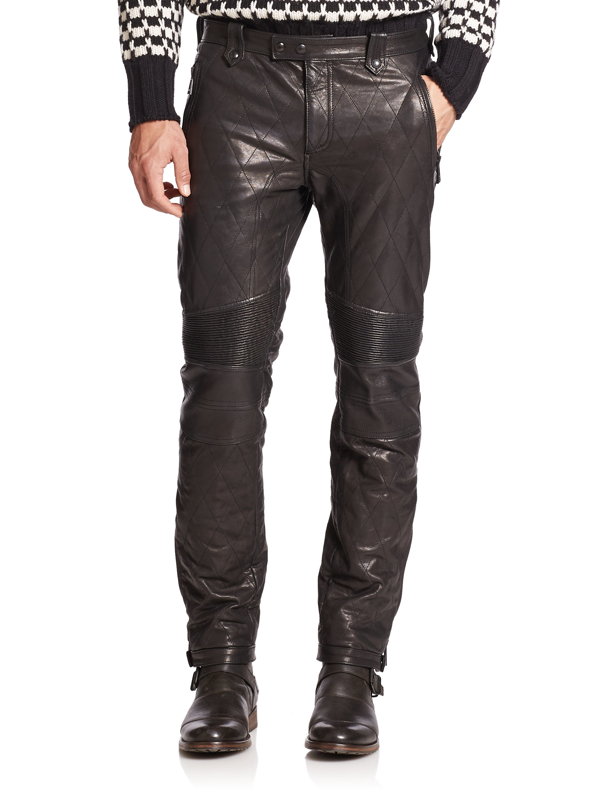 belstaff quilted leather moto pants in black for men lyst