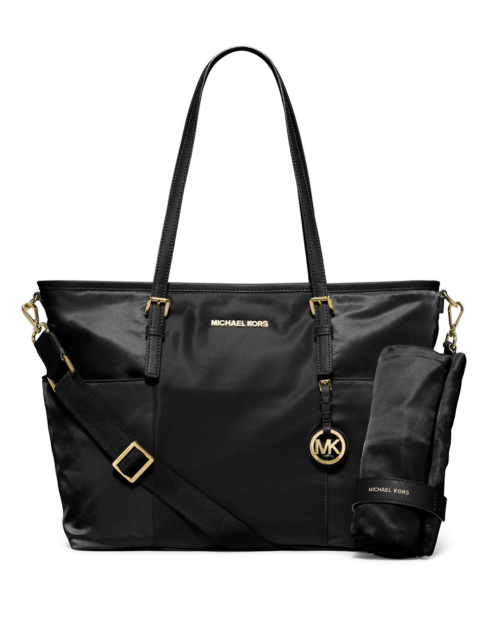 michael michael kors jet set large nylon diaper bag in black lyst. Black Bedroom Furniture Sets. Home Design Ideas
