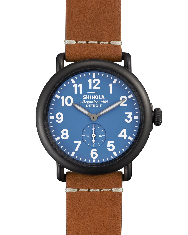 Lyst shinola 41mm runwell leather watch in blue for Shinola watches