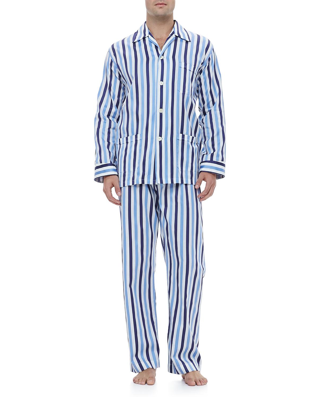 Mens Cotton Blue And White Stripe Pyjamas By Pj Pan