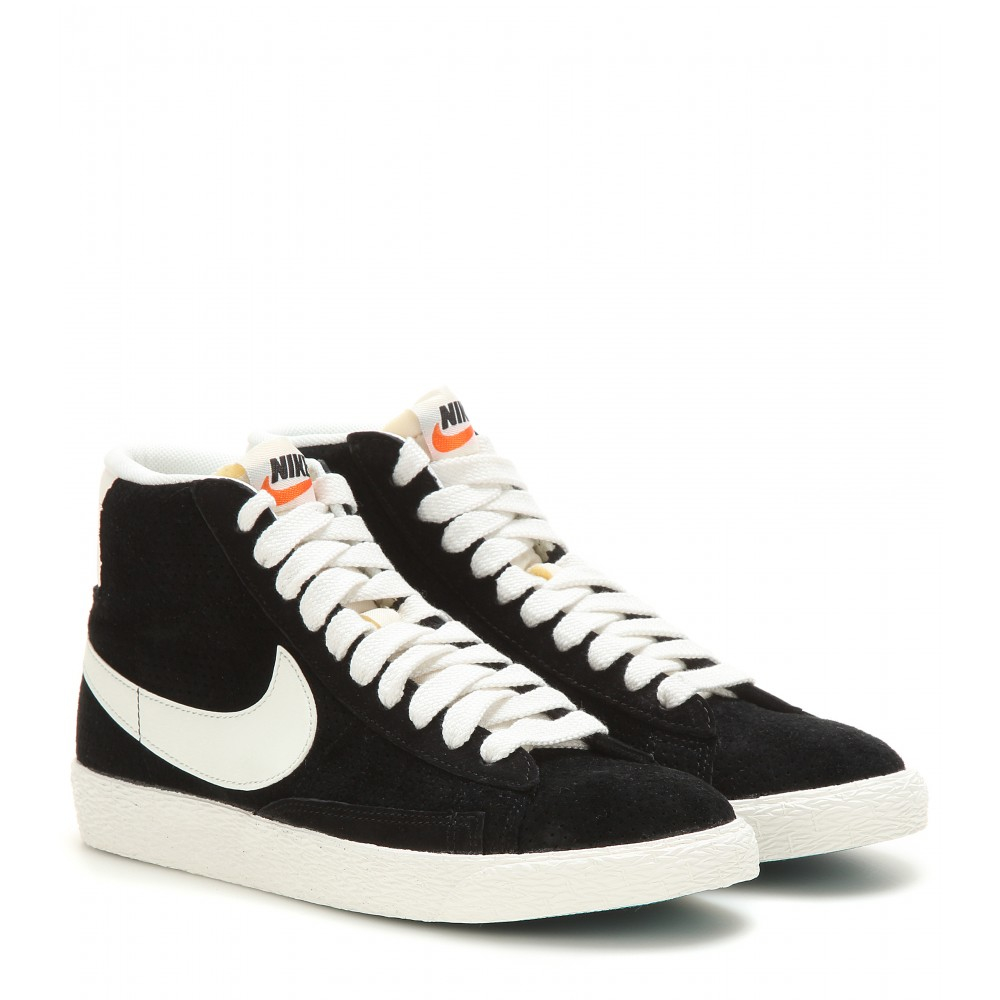 73bf421368ab ... store lyst nike blazer mid vintage suede high top sneakers in black  6b15a 3584e