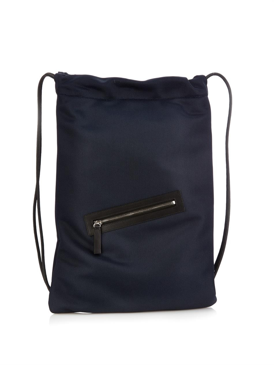 Jil sander Drawstring Nylon-Mesh Backpack in Blue for Men | Lyst