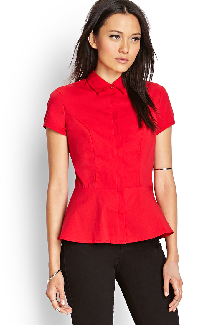 Forever 21 Fit Amp Flare Dress Shirt In Red Lyst
