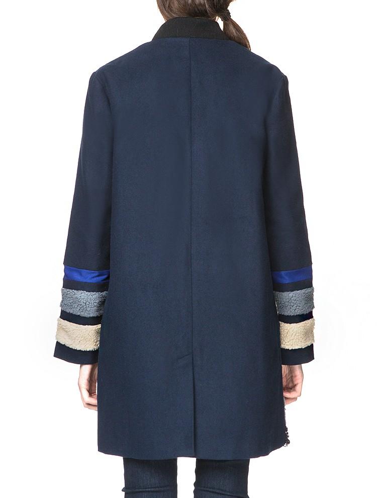 Pixie market Navy Shearling Coat in Blue | Lyst
