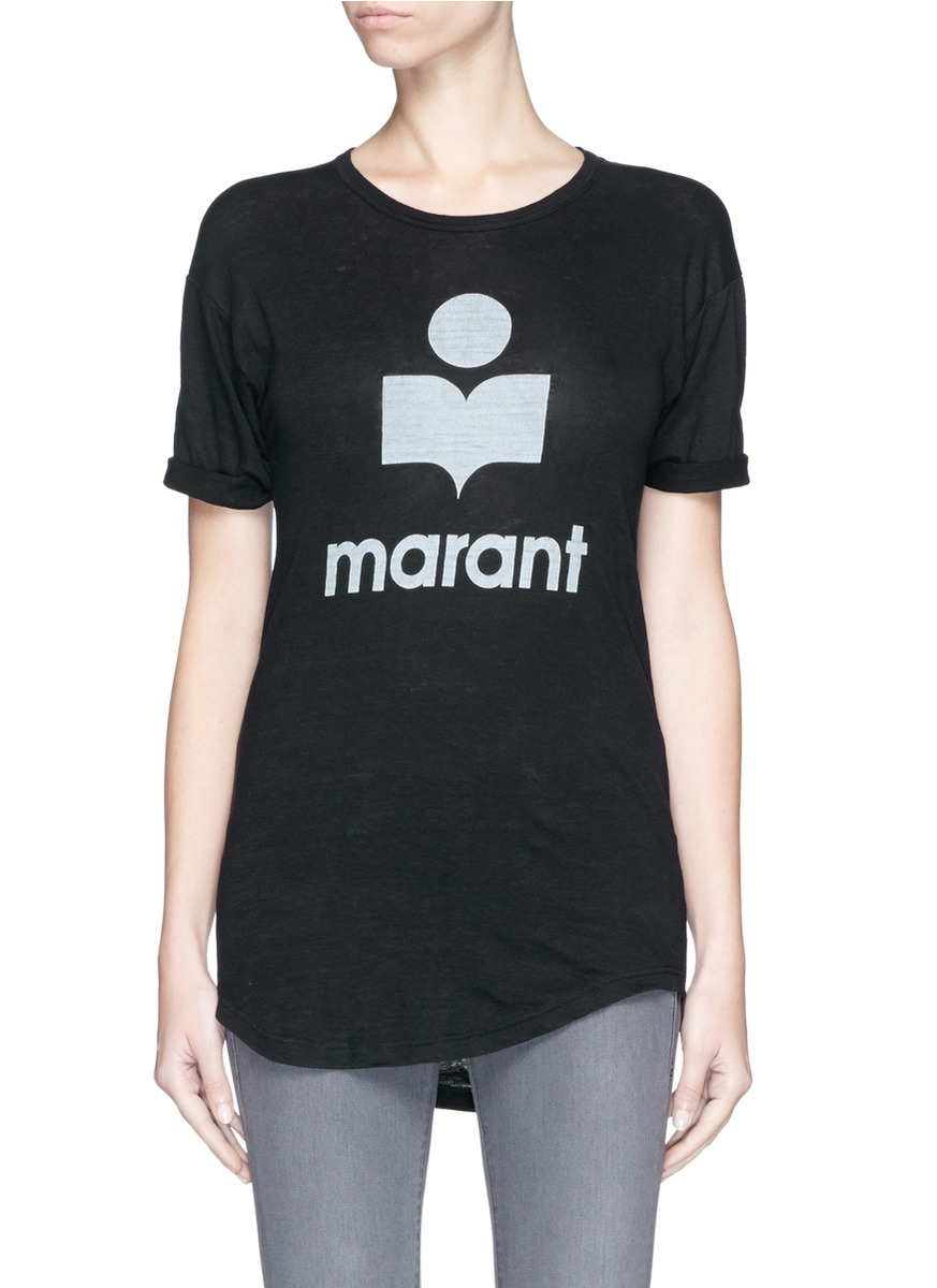 toile isabel marant 39 koldi 39 roll sleeve logo t shirt in