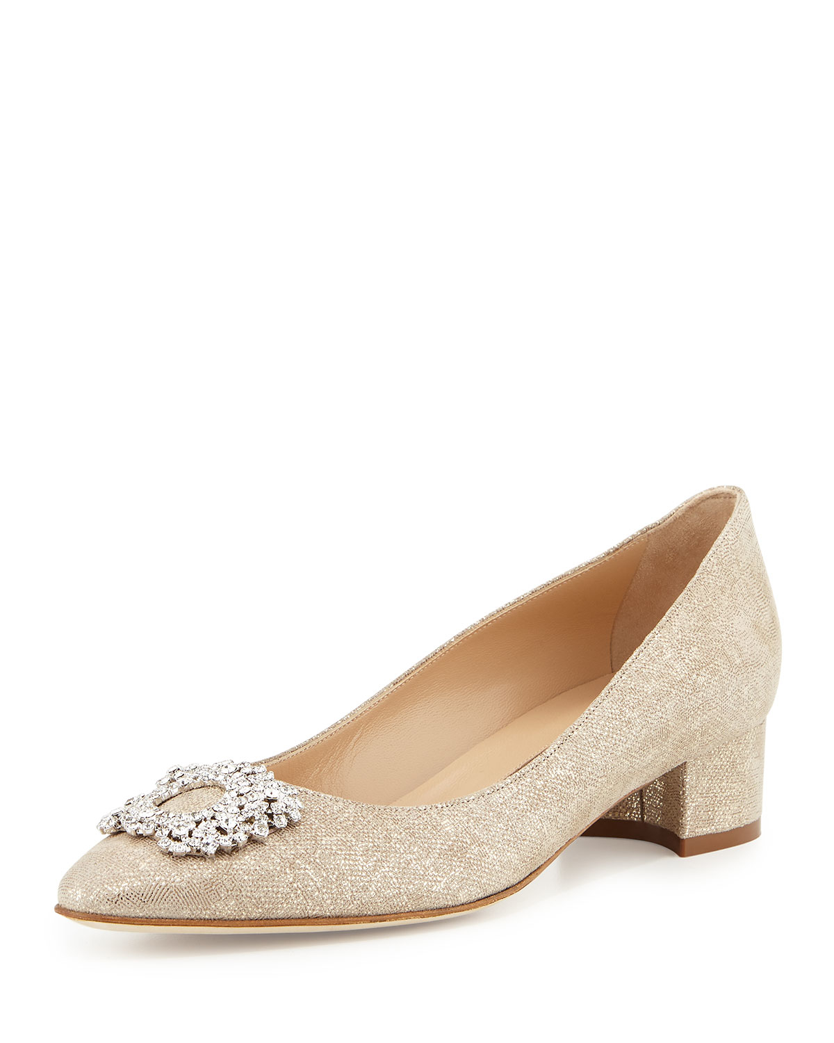 Lyst manolo blahnik listony crystal suede pumps in natural for Who is manolo blahnik