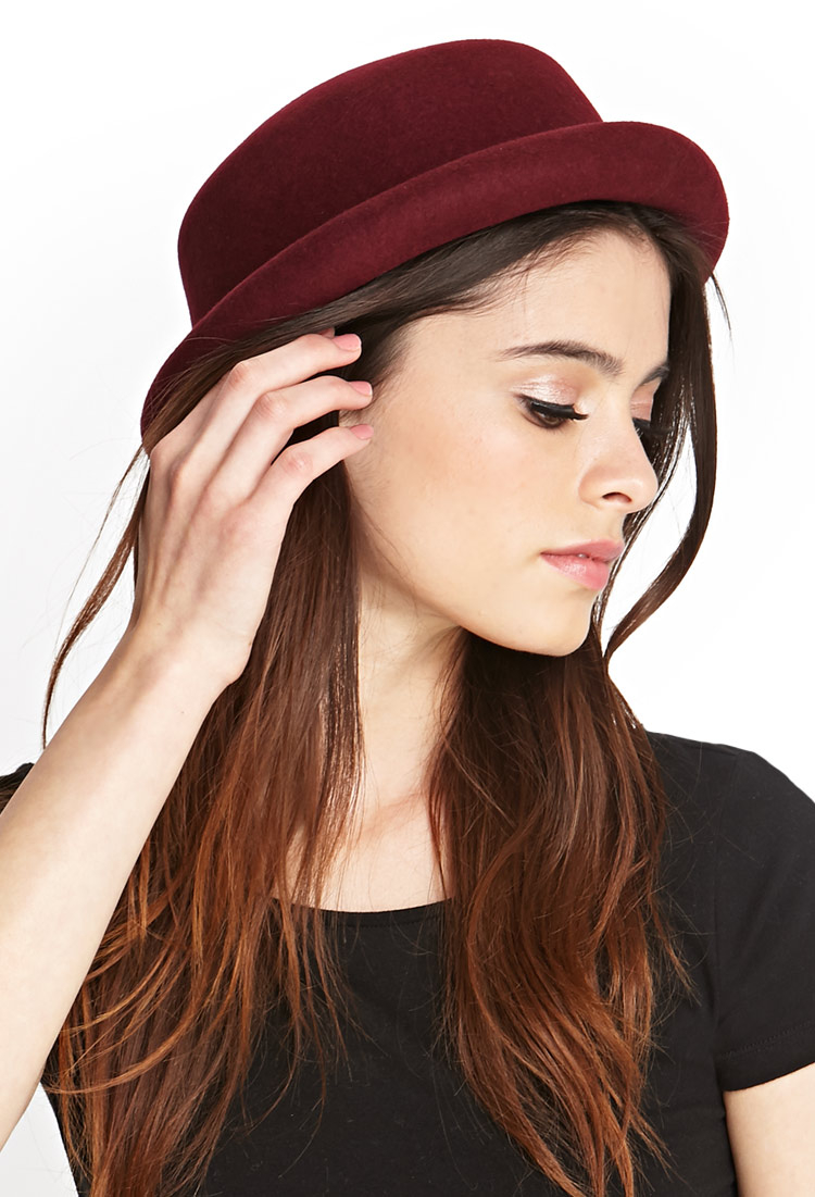 Lyst - Forever 21 Wool Bowler Hat in Red a5b82bbe615
