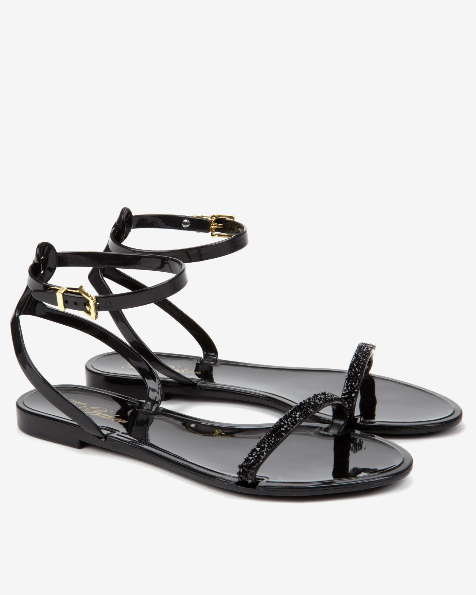 7094a12f44ac Lyst - Ted Baker Ankle Strap Jelly Sandal in Black
