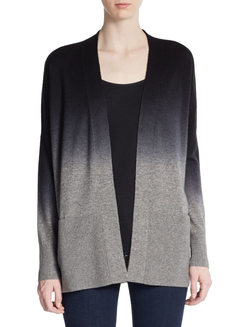Vince Ombré Wool/cashmere Cardigan in Gray   Lyst